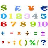 Números árabes, operaciones aritméticas y símbolos de monedas Imagen de archivo
