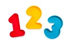 Números 123 del plástico Imagenes de archivo