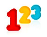 Números 123 do plástico Fotografia de Stock Royalty Free