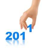 Números 2011 e mão Fotos de Stock Royalty Free