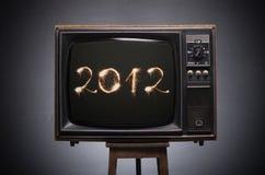 Números 2012 na tela da tevê retro. Imagem de Stock Royalty Free