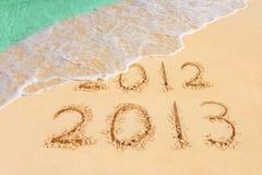 Números 2013 en la playa Imágenes de archivo libres de regalías