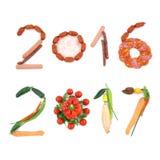 Números 2016 2017 Año Nuevo del vegano feliz Foto de archivo libre de regalías