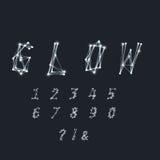 Números abstractos y símbolos hechos de las líneas blancas transparentes ingenio Imagen de archivo libre de regalías