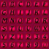 Números ajustados do alfabeto da tecla quadrada ilustração stock