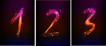 Números ajustados feitos da luz de néon ilustração stock