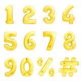 Números ajustados, hashtag, por cento Balões infláveis dourados Imagens de Stock