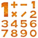 Números ajustados, lava alaranjada Imagens de Stock