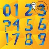 Números ajustados, vetor do estilo do origâmi Fotografia de Stock Royalty Free