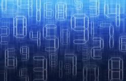 Números al azar del resplandor en fondo azul Imagenes de archivo
