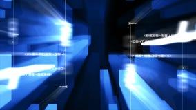 Números al azar que destellan contra luces azules ilustración del vector