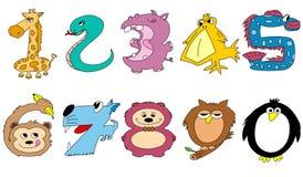 Números animais amigáveis Foto de Stock Royalty Free