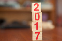 Números, 2017, ano novo, de madeira, madeira Fotografia de Stock Royalty Free