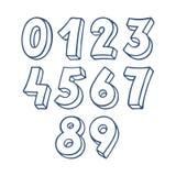 Números azuis do esboço ilustração royalty free