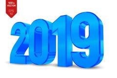 2019 números brillantes metálicos azules aislados en el fondo blanco muestra isométrica del Año Nuevo 3D para la tarjeta o el car ilustración del vector