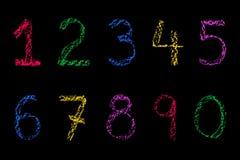 Números coloreados de la tiza Imagen de archivo libre de regalías