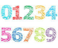 Números coloridos com ilustração do vetor do teste padrão das impressões digitais Imagens de Stock