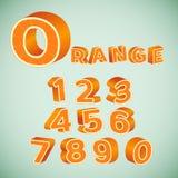 Números coloridos 3d con el modelo anaranjado Foto de archivo libre de regalías