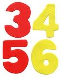 Números coloridos de la espuma Fotografía de archivo