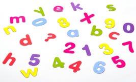 Números coloridos de las cartas Imagen de archivo libre de regalías