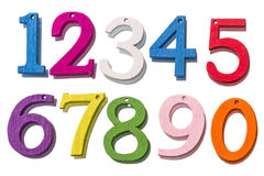 Números coloridos de madeira Foto de Stock Royalty Free