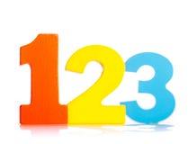 Números coloridos de madeira 1 2 3 Fotografia de Stock