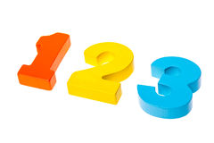 Números coloridos de madeira 1 2 3 Fotos de Stock Royalty Free