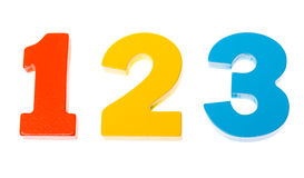 Números coloridos de madeira 1 2 3 Fotografia de Stock Royalty Free