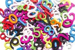 Números coloridos de madeira do montão Fotografia de Stock Royalty Free