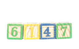 Números coloridos de madera Imagen de archivo