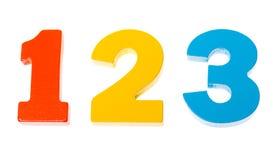 Números coloridos de madera 1 2 3 Fotografía de archivo libre de regalías