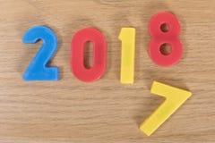 Números coloridos del juguete que cambian a partir de 2017 a 2018 Fotografía de archivo libre de regalías