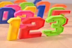 Números coloridos 123 del plástico Foto de archivo