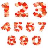 Números coloridos hechos de corazones Fotos de archivo libres de regalías