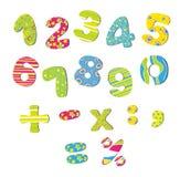 Números coloridos para los niños Foto de archivo libre de regalías