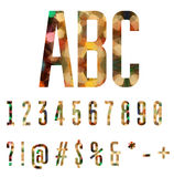 Números coloridos y símbolos hechos de formas geométricas abstractas Imagen de archivo