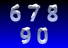Números com tampões da neve Fotos de Stock Royalty Free