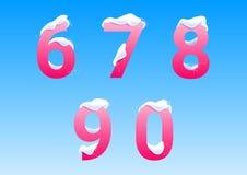 Números com tampões da neve Imagens de Stock