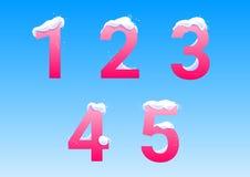 Números com tampões da neve Fotografia de Stock