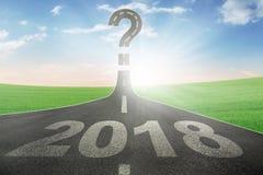 Números 2018 com um ponto de interrogação Foto de Stock