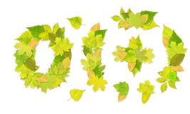 Números con hojas verdes Imagen de archivo libre de regalías