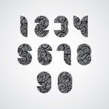 Números contemporâneos do estilo de Digitas com linhas encaracolado tiradas mão p Imagens de Stock Royalty Free