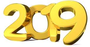 2019 números corajosos dourados 3d rendem Imagem de Stock Royalty Free