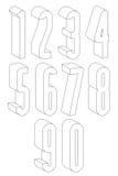 números 3d altos preto e branco feitos com linhas Fotografia de Stock Royalty Free