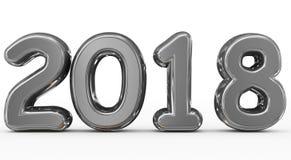 Números 3d arredondados metal do ano 2018 isolados no branco Fotografia de Stock