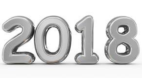 Números 3d arredondados prata do ano 2018 isolados no branco Foto de Stock