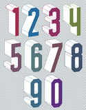 números 3d coloridos geométricos ajustados Fotografia de Stock Royalty Free