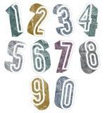 números 3d con las texturas de semitono de los puntos Fotografía de archivo
