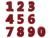 números 3D vermelhos ajustados Imagens de Stock