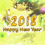 Números da aquarela 2018 Foto de Stock